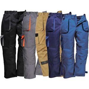 Portwest-tx11-Texo-contraste-trabajo-usan-pantalones-cintura-elastica-de-Rodillera-Bolsillos