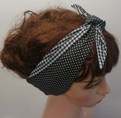 Women reversible headband self tie head scarf tie up hair scarf retro head wear