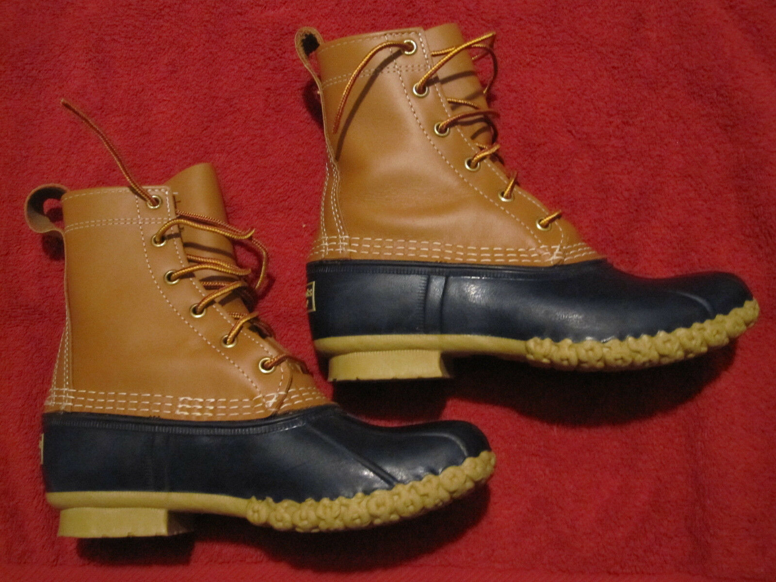 Womens LL BEAN Boots 8  Lace Lace Lace Snow Rain Mud Duck Tan Navy bluee Rubber Leather 6M 46a455