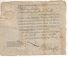 Rare 1794 Marriage License for Sarah Smith from Baltimore County Maryland