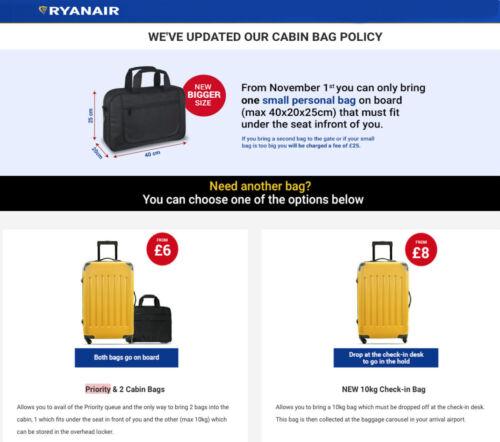Ryanair 34x20x20cm Épaule Main Cabine Bagages Sac de Voyage Holdall sous siège