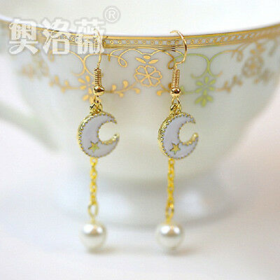 cosplay Ainme Sailor Moon Cute Lovely white moon Pendant Golden color Earrings