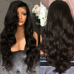 Black-Curly-Ladies-Womens-Brazilian-Remy-Hair-Body-Wave-Hair-Wigs
