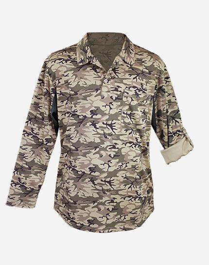 Mens Sand Camo Polo UPF50+ Shirt Top Long Sleeve