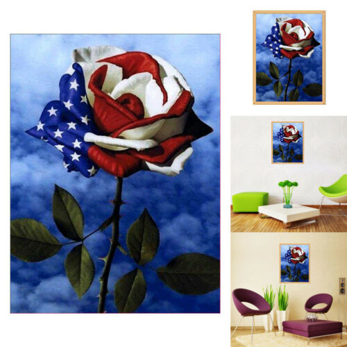 AMERICAN FLAG ROSE 5D ART DIAMOND PAINTING CROSS STITCH CRAFT DECOR ALLURING