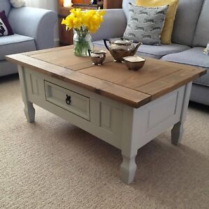 Shabby Chic Coffee Table In Farrow Ball French Grey Solid Pine Drawer Next Ebay