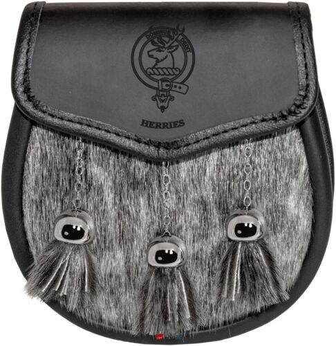Herries Semi Dress Sporran Fur Plain Leather Flap Scottish Clan Crest