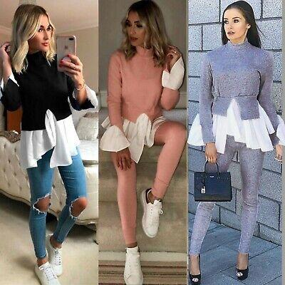 GroßZüGig Womens Bell Sleeves Ribbed Sweater Top Loungewear Legging Set Tracksuit 2pcs Pjs