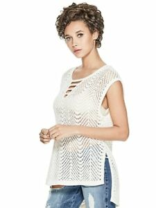 GUESS-Top-Women-s-Open-Stitch-V-Neck-Summer-Knit-Tunic-Blouse-S-Ivory-NWT