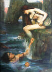 """J. W. WATERHOUSE - The Siren - *FRAMED* CANVAS ART 16""""X 12"""""""