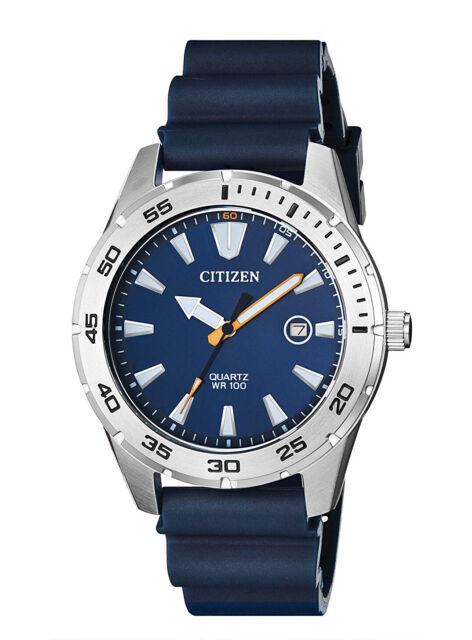 CITIZEN BI1041-22L Marine Quartz Stainless Steel Blue Strap 100m Men's Watch