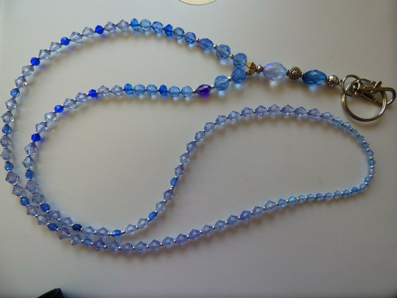 Beaded Lanyard. Blue Faux Crystals & Silver Colour Beads.