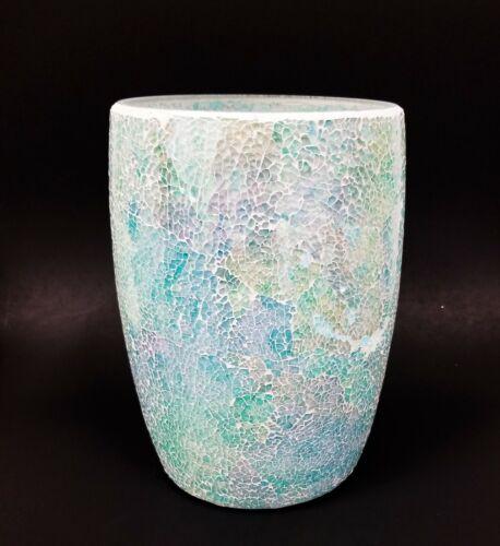NEW IRIDESCENT AQUA,BLUE,GREEN GLASS MOSAIC WASTE BASKET,TRASH CAN