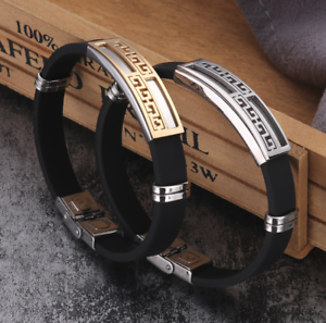Armband-Edelstahl-Armreif-Silber-Gold-fuer-Herren-Maenner-Schwarz-Damen-Silikon