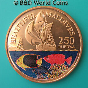 1996-MALDIVE-ISLANDS-250-RUFIYAA-COPPER-PROOF-PLAIN-EDGE-MALDIVES-COLORED-FISH