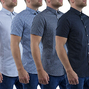 Mens-Shirts-Short-Sleeve-Casual-Stallion-Slim-Fit-Formal-Shirt-Top-S-M-L-XL-New