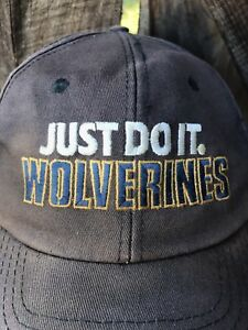 RARE Vtg 90s Michigan WOLVERINES Nike Swoosh JUST DO IT Hat Blue ... 9b04aaf2accc