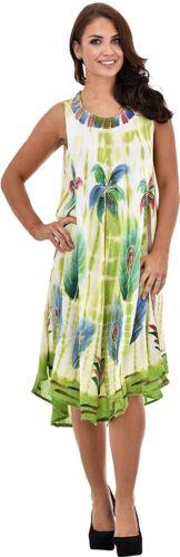 Womens Casual Umbrella Dress Beige Sleeveless Viscose Summer Evening Top Tunic