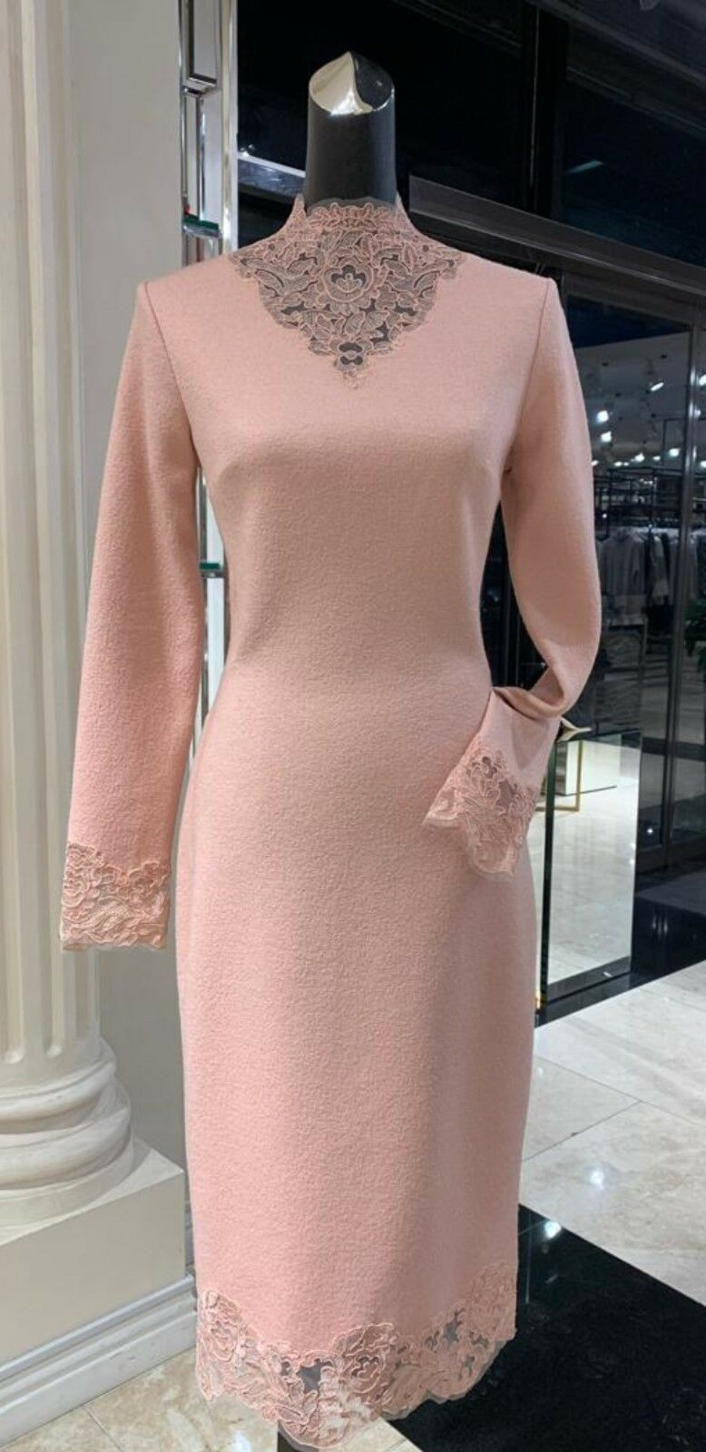 NWT  2500 ERMANNO SCERVINO DUSTY PINK BOUCLE BOUCLE BOUCLE WOOL  Dress Size It44 US S M d0a8a2