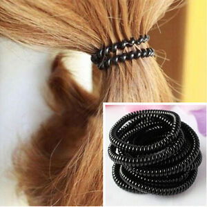 10pcs Super Thin Elastic Girl Rubber Telephone Wire Style Hair ...