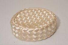 Vintage Ladies Hat Pillbox White Cream Straw Small Woven