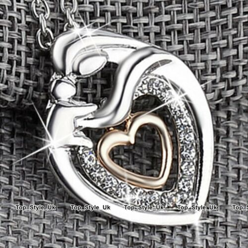 Mother /& Daugther Crystal Diamond Gold /& Silver Necklace Xmas Gifts for Her S1
