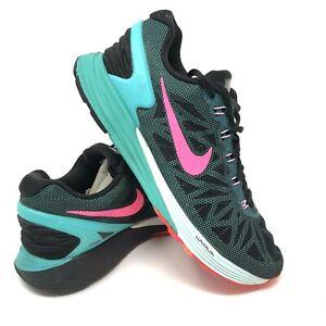 vente chaude en ligne 0dff3 8b08c Details about NIKE Lunarlon Sneakers Lunar Green Pink Black 654434-002  Womens US 8