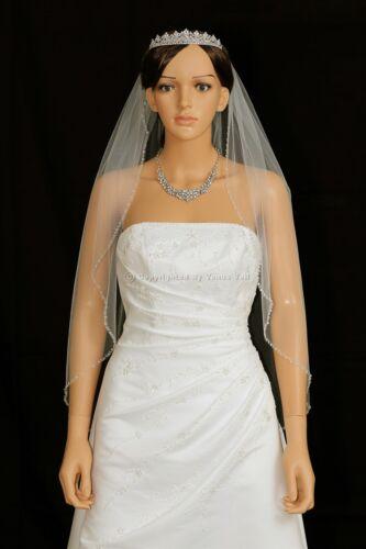 Ivory Fingertip Length Crystal Beaded Edge Wedding Veil 1 Layer Bridal White