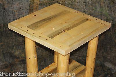 Rustic Log (Breadboard Top) End Table / Nightstand - Cabin, Lodge Log Furniture