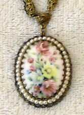 Vintage Porcelain oval floral NECKLACE faux pearl antique gold setting W GERMANY