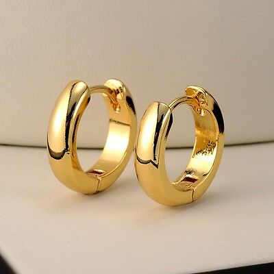 18k Yellow Gold Filled Smooth Earrings 15MM Women's Hoop Huggie GF Jewelry Gift