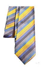 Blue Men's Neck Tie Blue Gray Gold Yellow Stripe Wedding Necktie Silk NEW