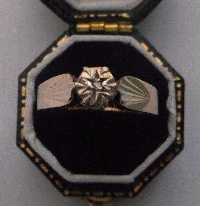 Wouomo 9ct oro Diamante Solitario Solitario Solitario Anello Di Diamanti Misura Q peso 2g timbrato f516ed