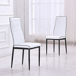 Pair faux leather dining restaurant chairs white black for White leather high back dining chairs
