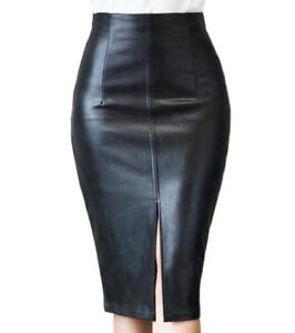 ec8c6eb953 New WOMENS S-4XL Leather Skirt Black Knee Length Pencil Skirt ...