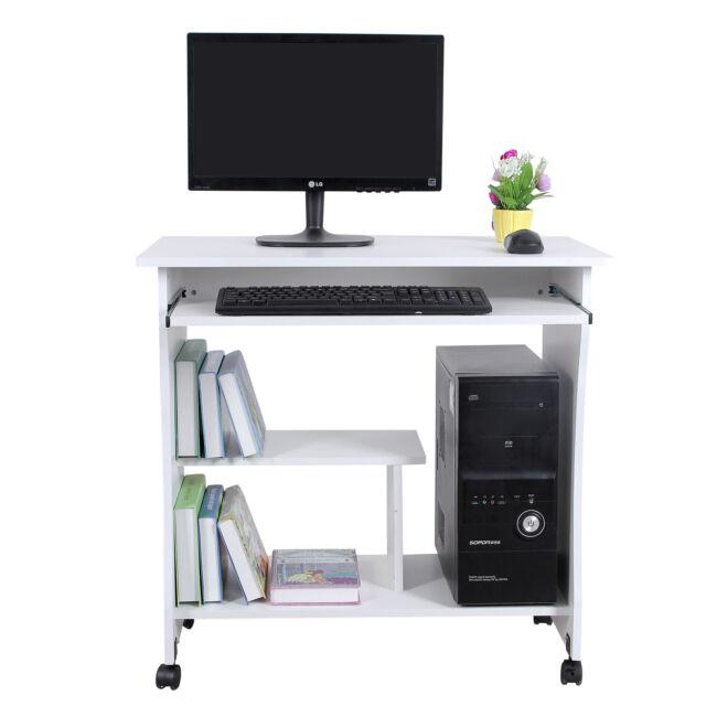 Scrivania Per Computer Bianco.Vasagle Lcd858w Scrivania Per Computer Tavolo Con Ripiano
