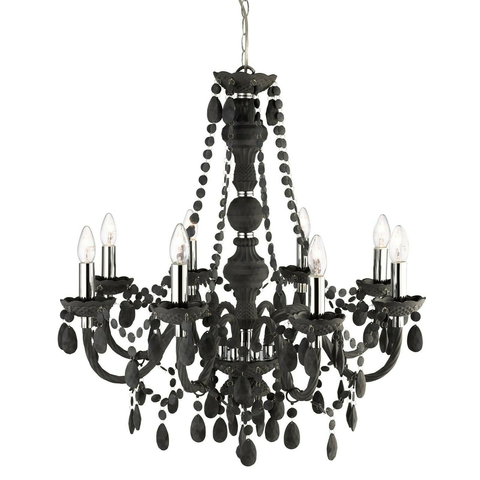 MARIE THERESE FROSTED 8 LIGHT CHANDELIER WITH CRYSTAL DROPS