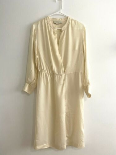 Stella McCartney Silk Satin Cream Long Sleeve V Ne