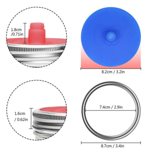 Fermentation Lids Waterless Airlock Silicone Fits for Wide Mouth Mason Jar