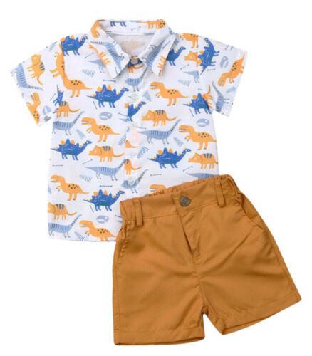 Styles I Love Little Boys Dinosaurs Printed Button-Down Shirt and Shorts 2pcs