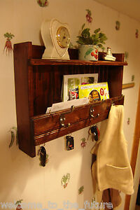 24 W Handcrafted Wall Letter Mail Organizer Key Holder