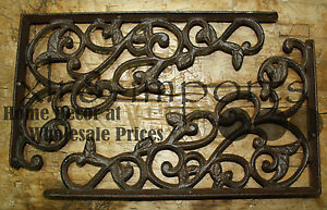 2 Cast Iron Antique Style LEAVES & VINE Brackets, Garden Braces Shelf Bracket