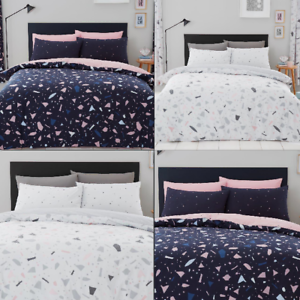image is loading luxury terrazzo duvet cover sets quilt covers reversible - Navy Bedding