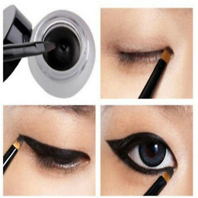 NEW Waterproof Black Eye Liner Eyeliner Shadow Gel Makeup Cosmetic + Brush