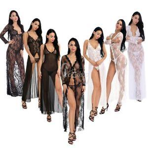 Image is loading Women-Lady-Lingerie-Nightgown-Lace-Sleepwear-Night-Gown- 7cc06570e