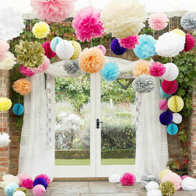 10 Pcs Pompom Flower BALL Tissue Paper Ball Lantern Decor Wedding Party Birthday