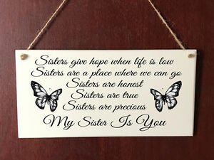 Image Is Loading Sister DELUXE Plaque Sisters Friends Sign Present Thank