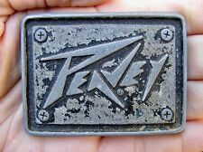 Vtg PEAVEY GUITARS Belt Buckle LOGO Music Enamel Pewter RARE VG+