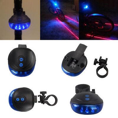 5 Blue LED 2 Laser Beam Bicycle Bike Cycling Tail Rear Light Safety Warning Lamp