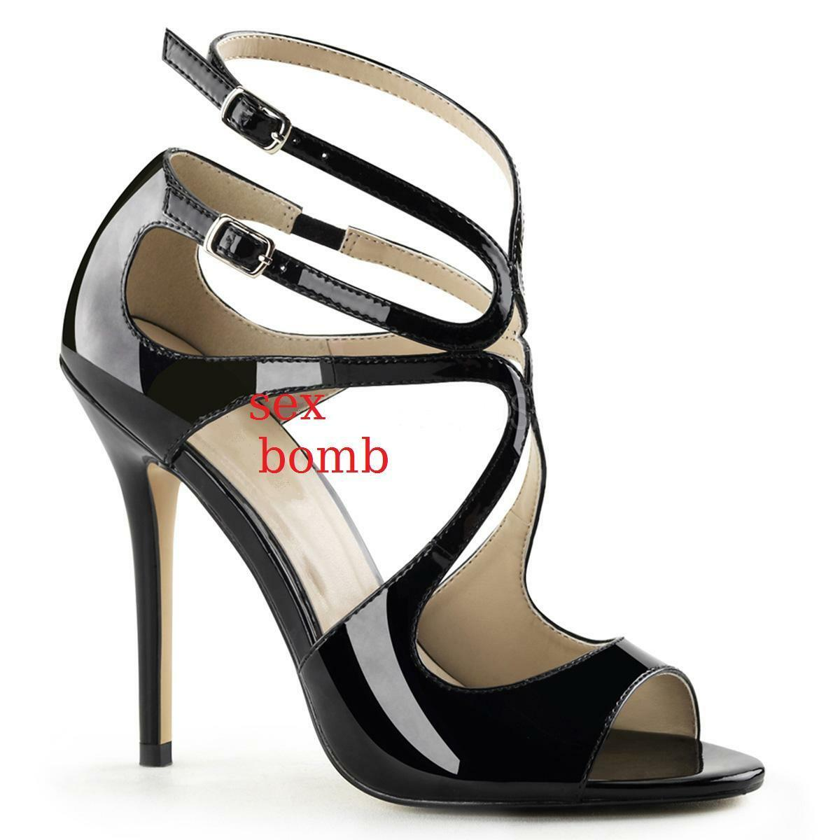 Sexy Sandals Heel 13 NEOR gloss from 35 to 46 Double Strap shoes Glamour